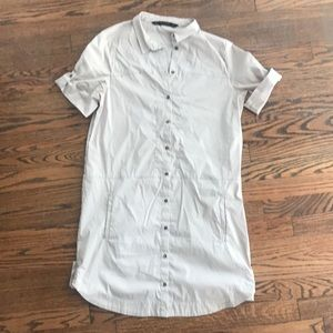 Zara - khaki button up dress with pockets